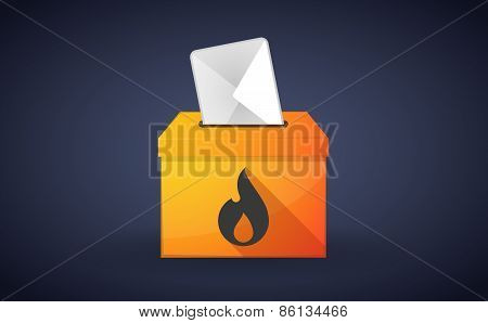 Ballot Box With A Vote And A Flame
