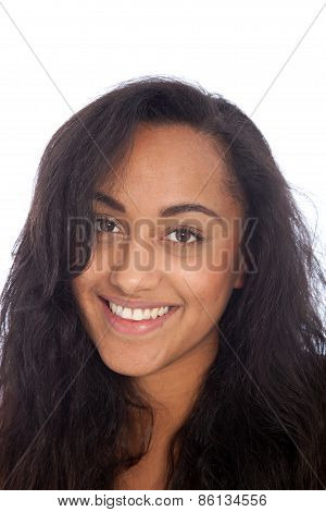Smiling Asian Indian Girl With Long Black Hair