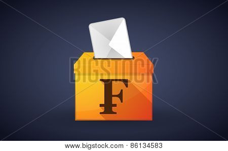 Ballot Box With A Vote And A Swiss Franc Sign