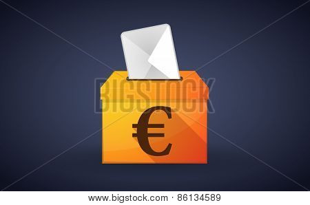 Ballot Box With A Vote And An Euro Sign