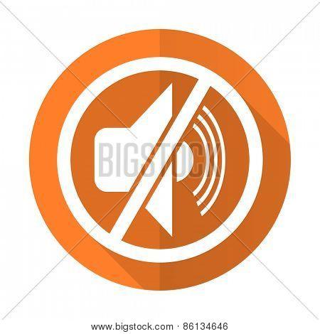 mute orange flat icon silence sign