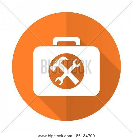 toolkit orange flat icon service sign