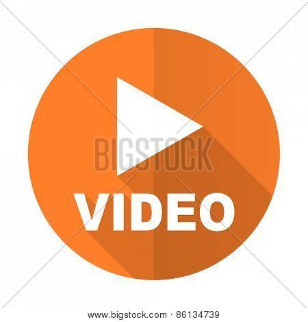 video orange flat icon