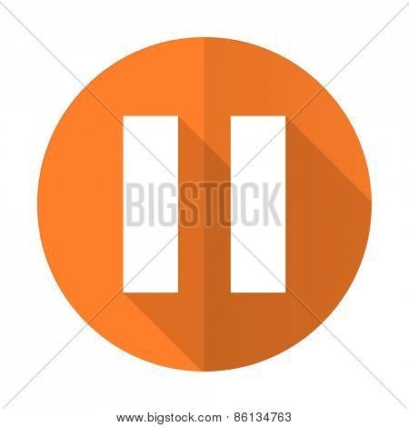pause orange flat icon
