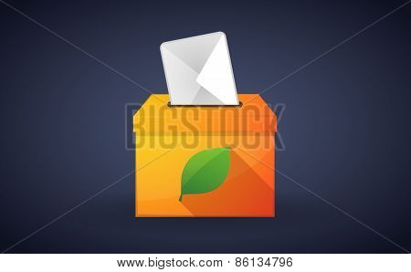 Ballot Box With A Vote And A Green Leaf