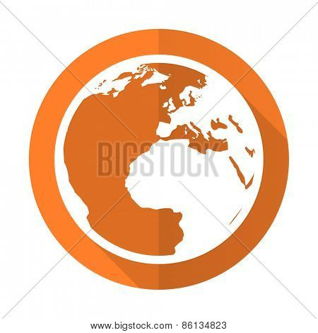 earth orange flat icon world sign