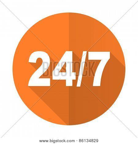 24/7 orange flat icon