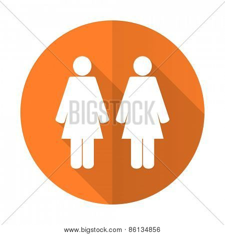 couple orange flat icon people sign team symbol