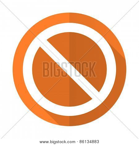 access denied orange flat icon