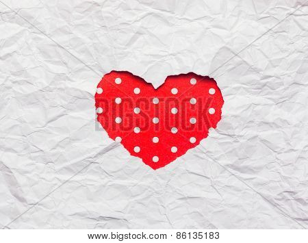 White Torn Paper In Heart Shape Symbol