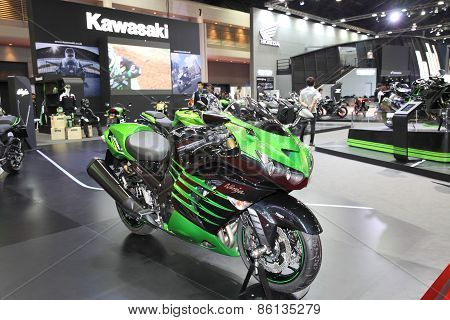 BANGKOK - MARCH 25: Kawasaki Ninja ZX-14R motorcycles on display at The 36 th Bangkok International