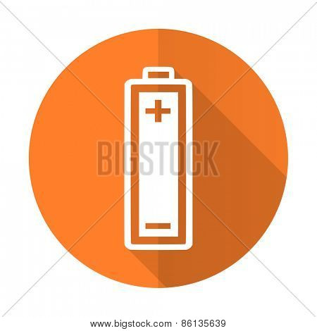 battery orange flat icon power sign