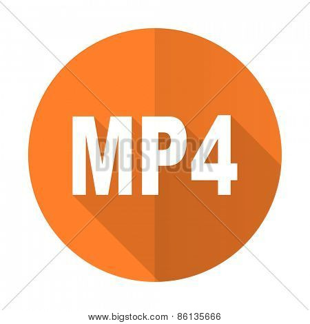 mp4 orange flat icon