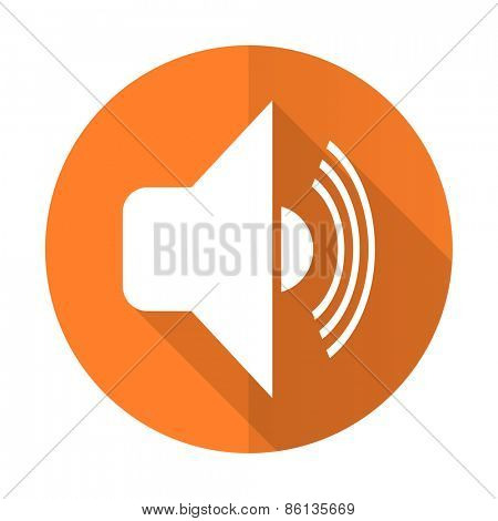 volume orange flat icon music sign