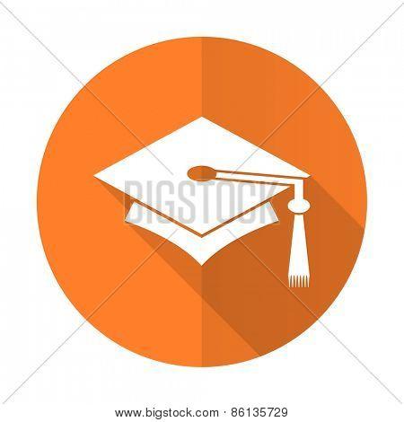education orange flat icon graduation sign