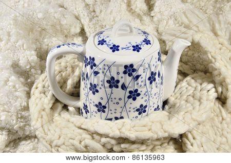 Teapot And Wool Fabrics