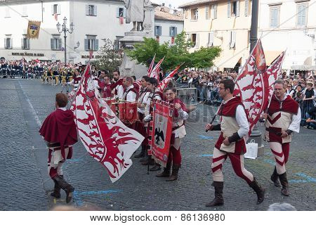 Acquapendente, ITALY - MAY 18 2014, Festa dei Pugnaloni Festival in the City Center