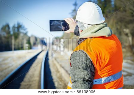 Railway engineer filmed on the railway