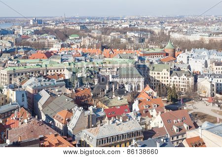 Aerial view of Riga old centre roofs