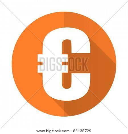euro orange flat icon