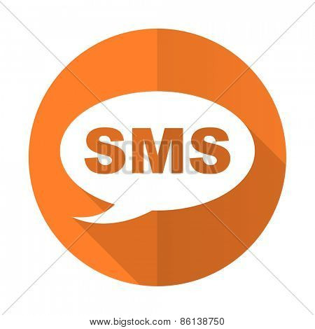 sms orange flat icon message sign