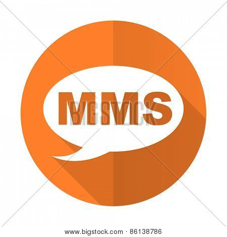 mms orange flat icon message sign