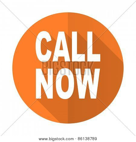 call now orange flat icon