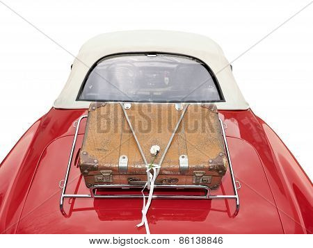 Suitcase Placed On The Trunk Clipping Path