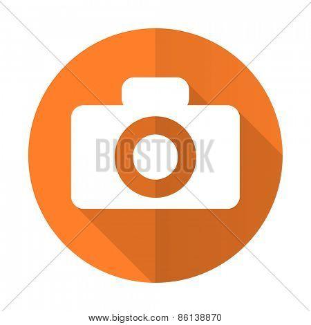 camera orange flat icon