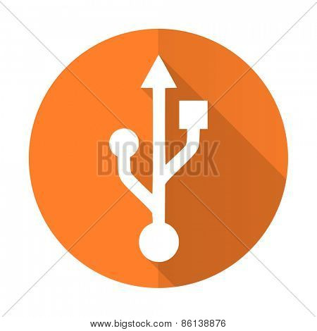 usb orange flat icon flash memory sign