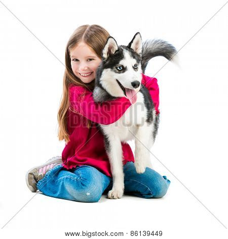 cute little girl is with her dog husky isolated on white background