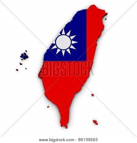 Taiwan Map Flag Shape