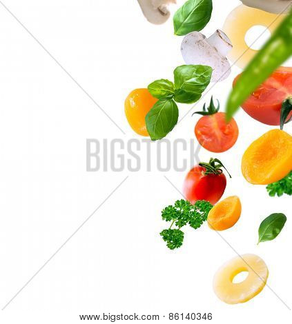 healthy food ingredients on a white background