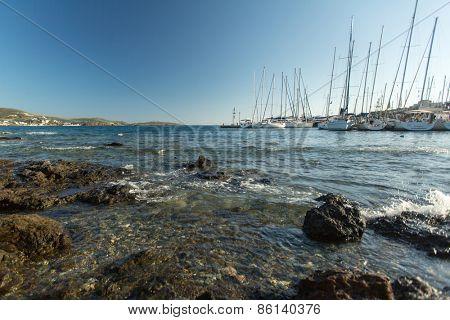 HYDRA, GREECE - CIRCA OCT, 2014: Sailboat participate in sailing regatta 12th Ellada Autumn 2014 among Greek island group in the Aegean Sea, in Cyclades and Argo-Saronic Gulf.