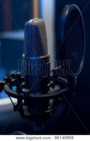 Microphone in a recording studio