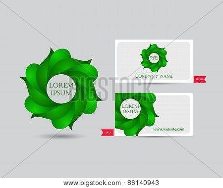 Business emblem icon of green leaves