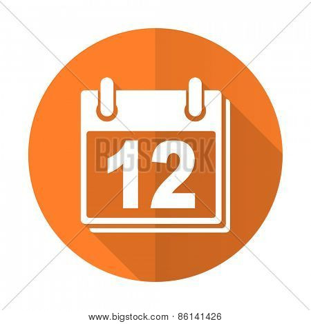calendar orange flat icon organizer sign agenda symbol