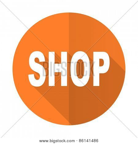 shop orange flat icon