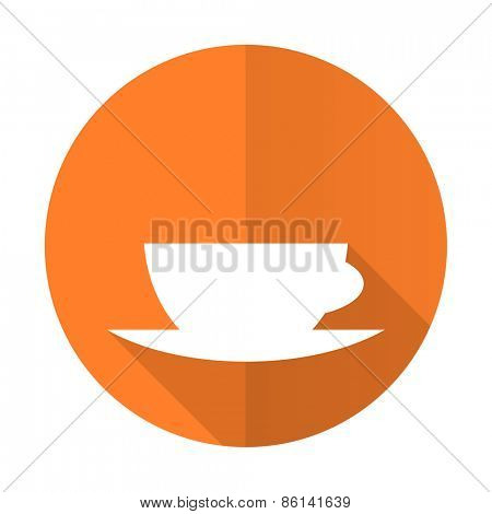 espresso orange flat icon caffe cup sign
