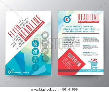 Abstract Typography Polygon Brochure Flyer Design Layout Vector Template