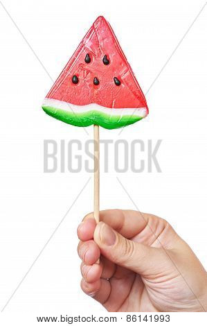 Hand Holding Lollipop Watermelon