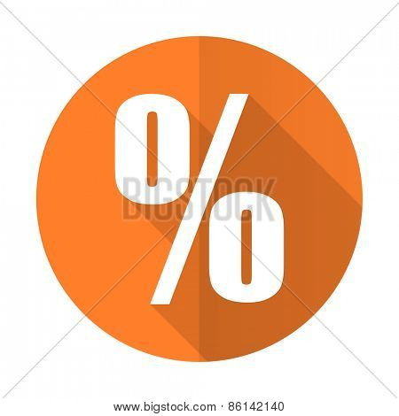 percent orange flat icon
