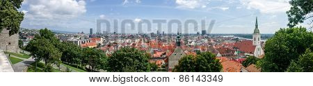 Panorama Of Bratislava. View Of The Old Town.