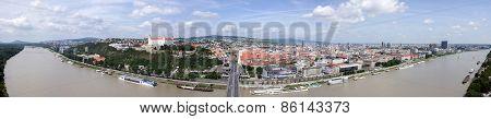 Panoramic View Of Bratislava. Old Town.