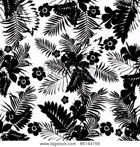 Seamless jungle floral pattern with leaves