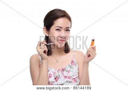 women asian happy smiling with lips gloss isolated on white background. Lovely fresh young Asian fem