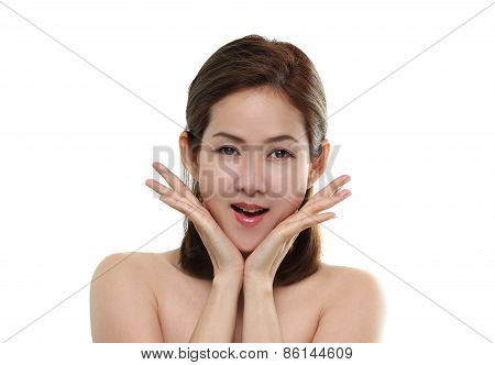 Beautiful women asian happy smiling and surprise with good healthy of skin your face isolated on whi