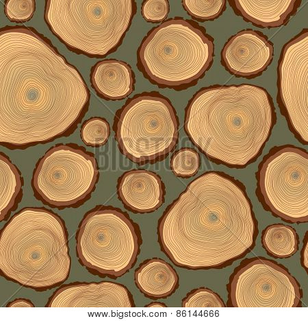 Vector seamless pattern of  tree log cutted