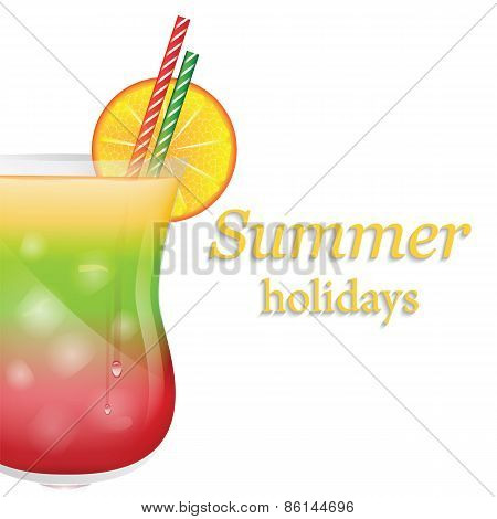 Summer Fruit Cocktail With Ice And Orange Isolated On White Background