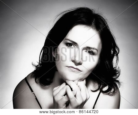 Woman With Dark Hair Looking